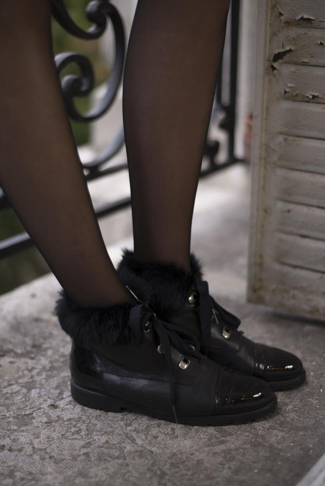 Accessoires - Bottines noires fourrure