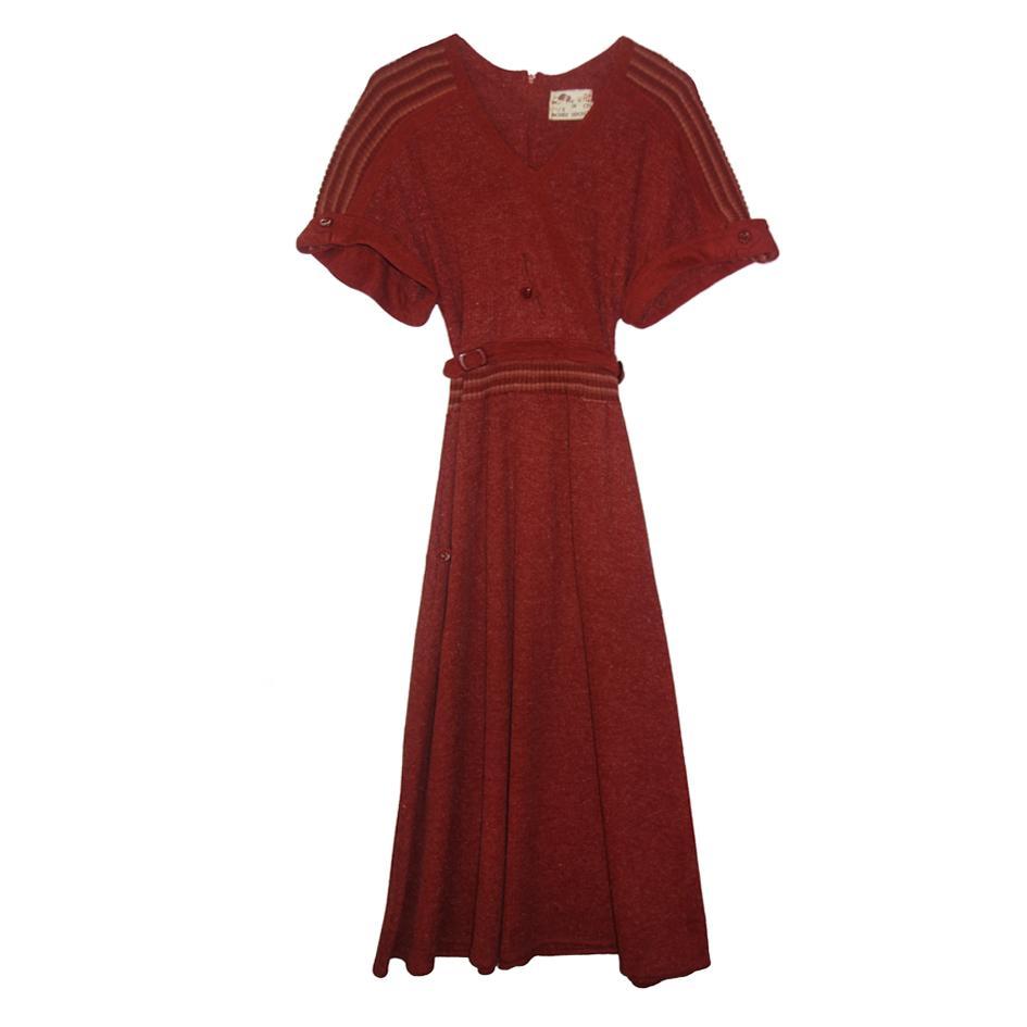 Robes - Robe en laine rouille