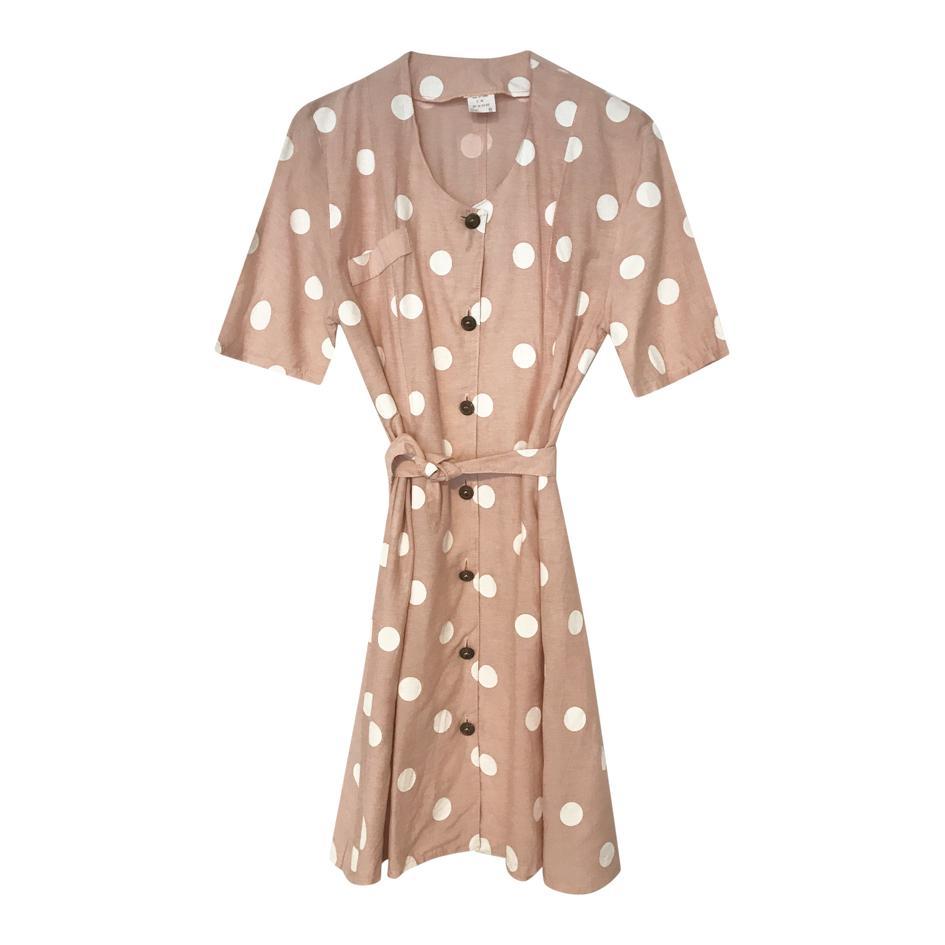 Robes - Robe rose à pois blancs