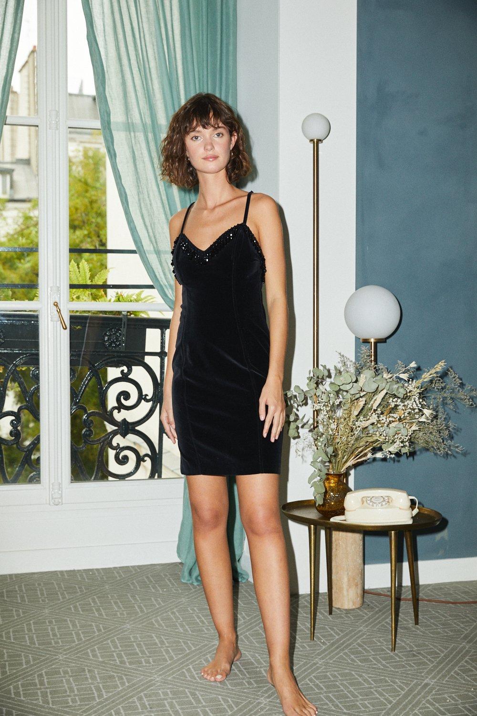 Robes - Robe velours et perles Chantal Thomas