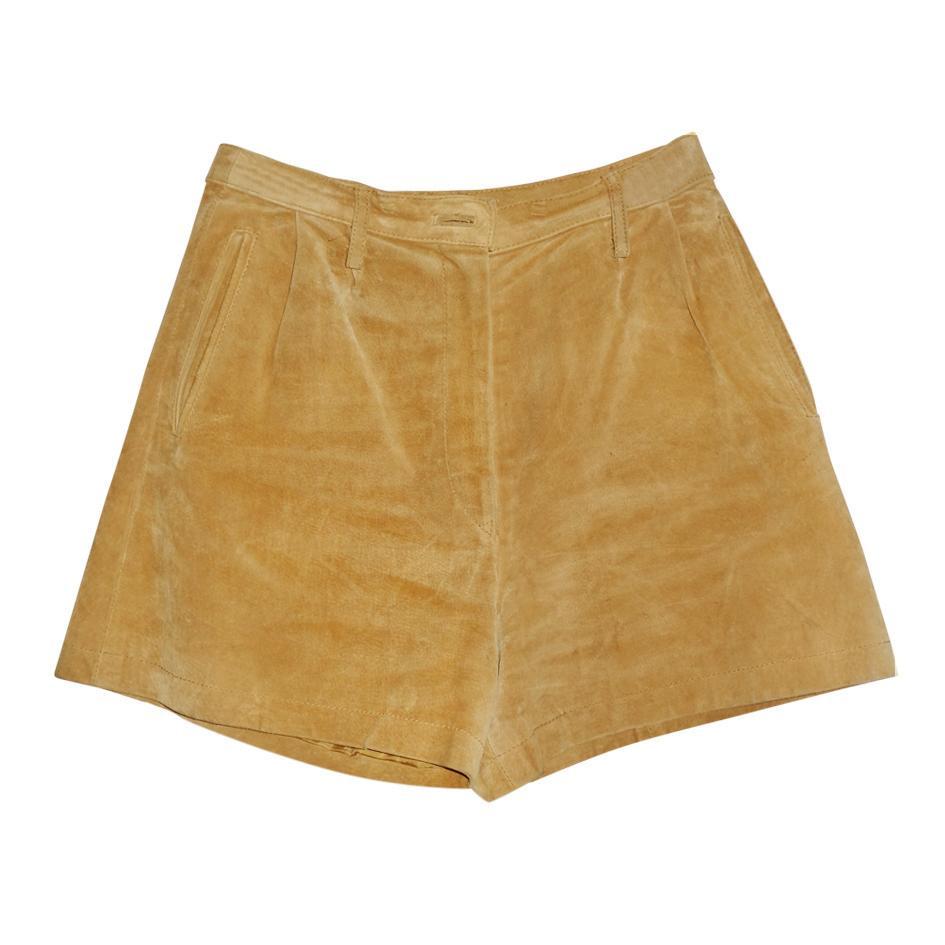 Shorts - Short en daim moutarde