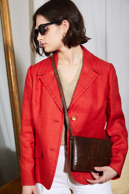 Vestes - Blazer en lin rouge