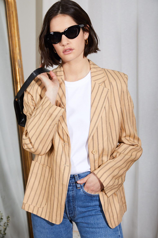 Vestes/Manteaux - Blazer en lin rayé