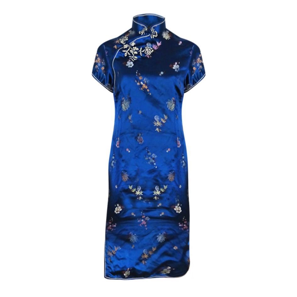 - Robe chinoise bleu nuit
