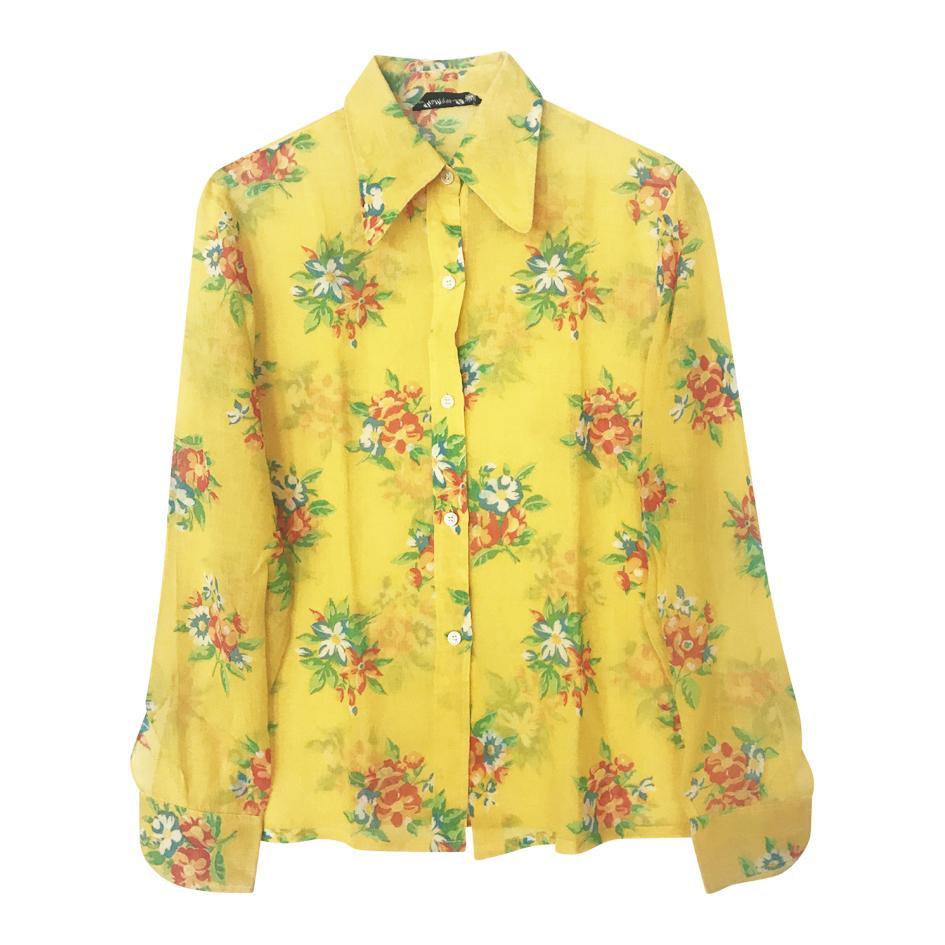 Tops - Chemise jaune fleurie