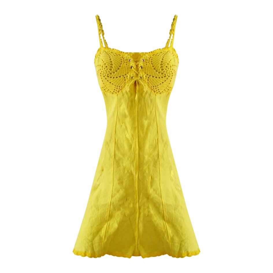 Robes - Robe en lin et crochet jaune