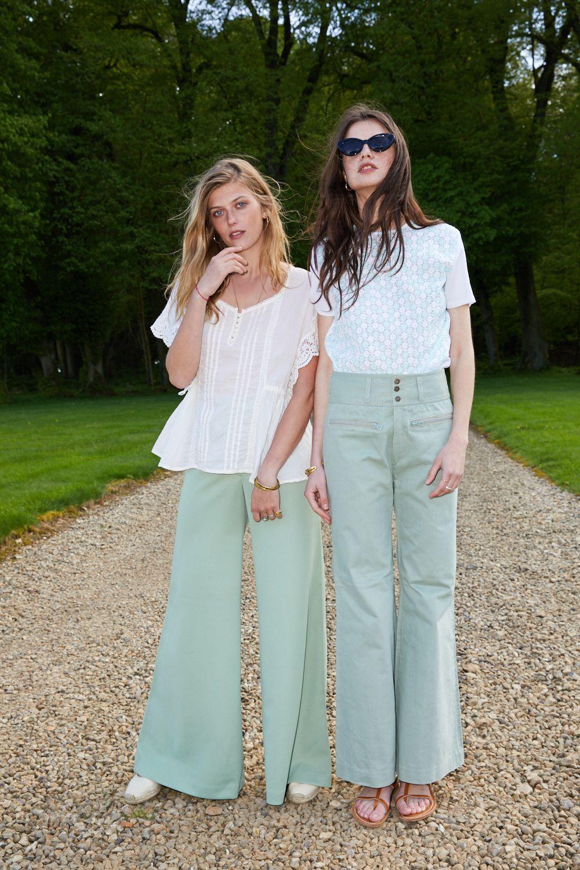 Pantalons - Flare vert d'eau