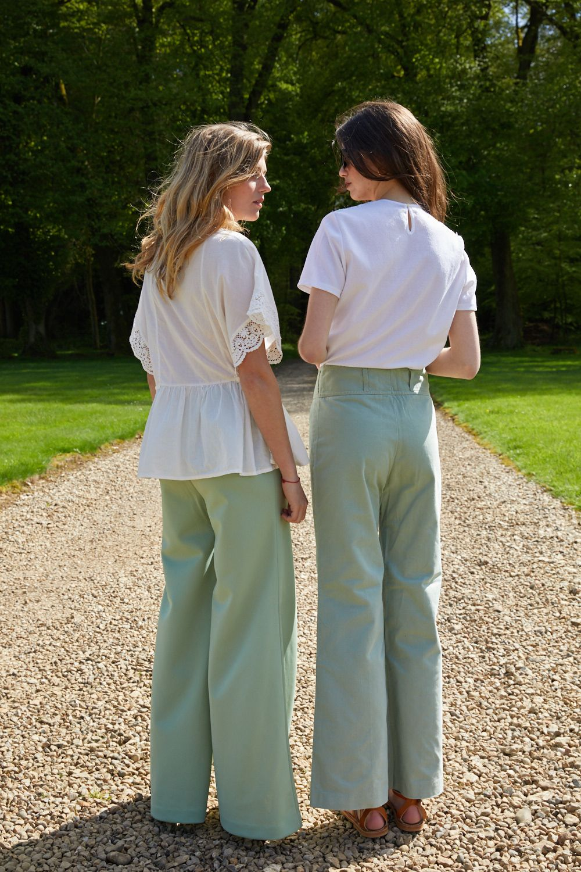 Pantalons - Jean flare vert d'eau