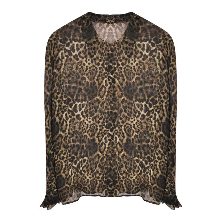 Tops - Chemise en soie léopard