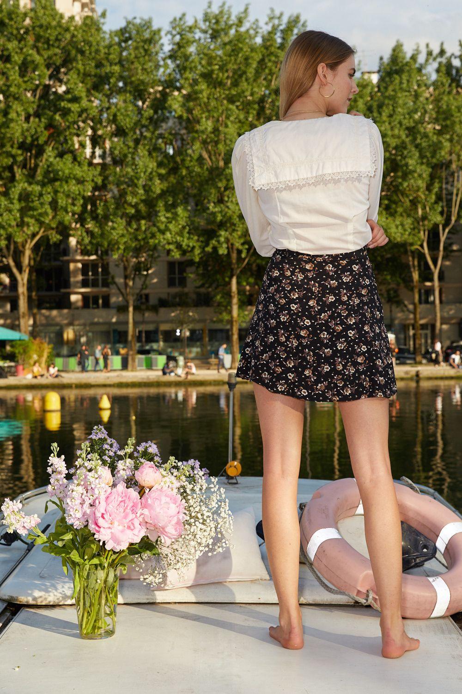 Jupes - Jupe courte à fleurs