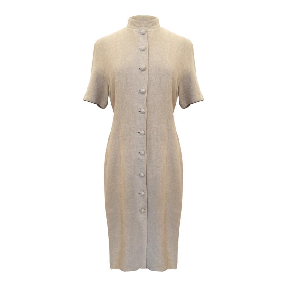 Robes - Robe en lin col Mao
