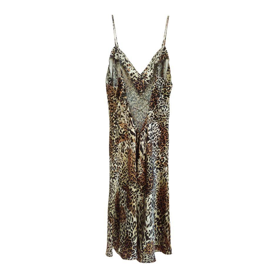 Robes - Robe en soie léopard