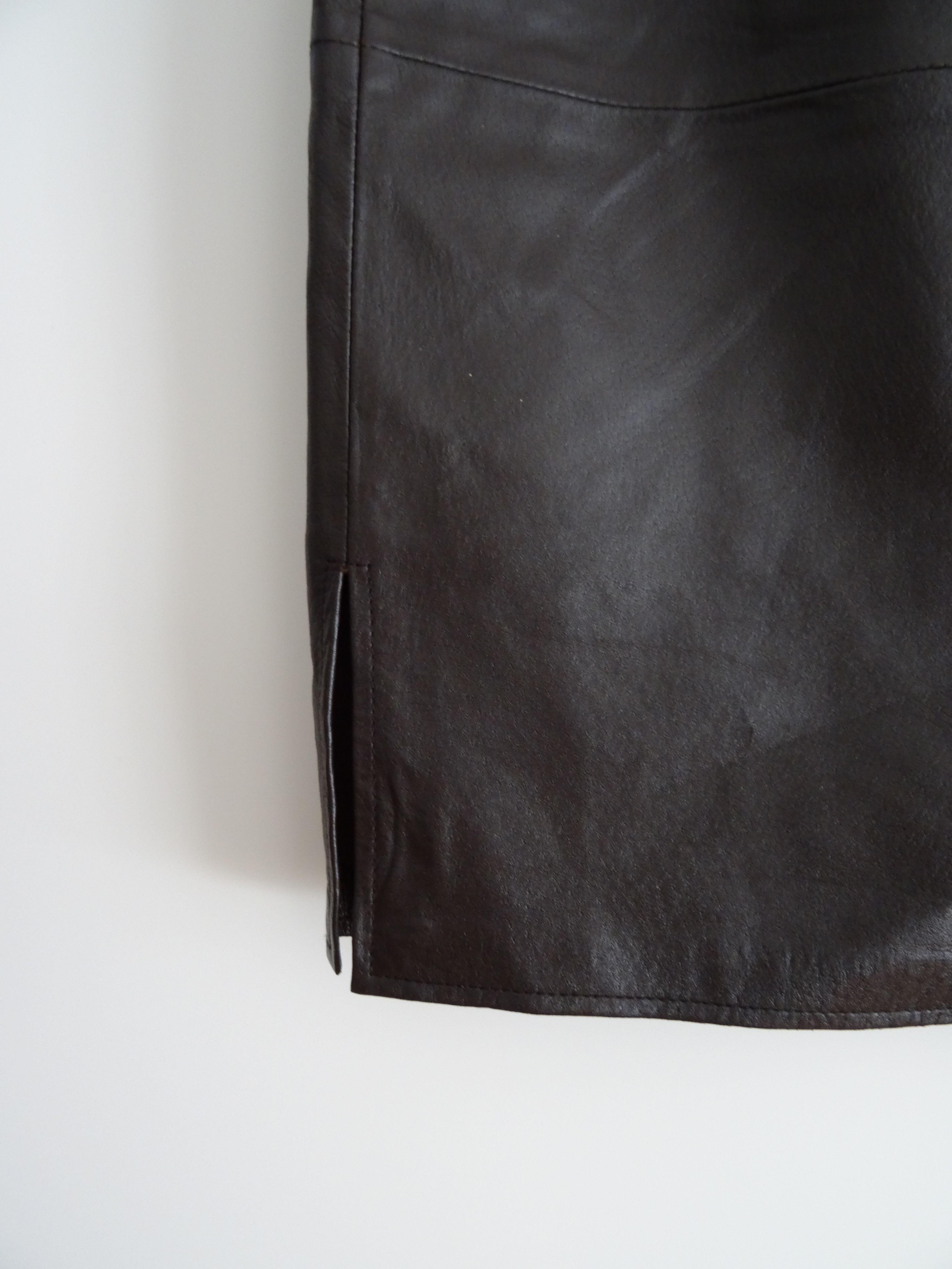 Jupes - Jupe en cuir marron