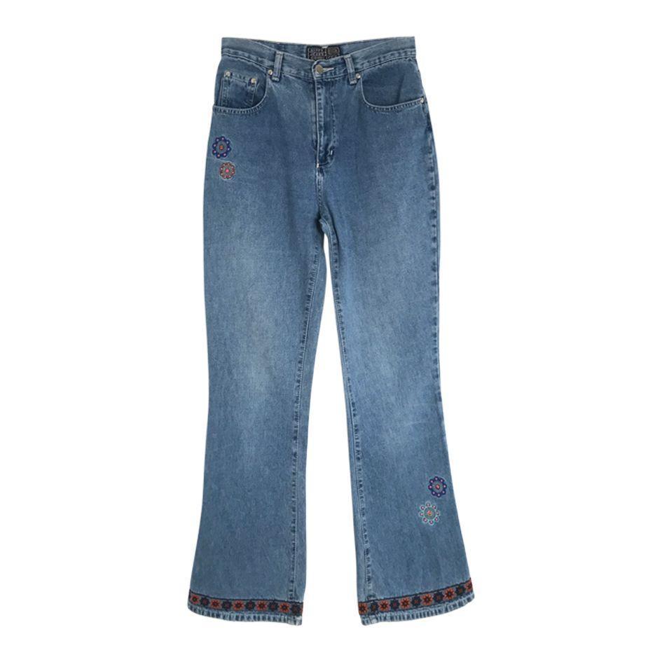 Pantalons - Jean flare brodé