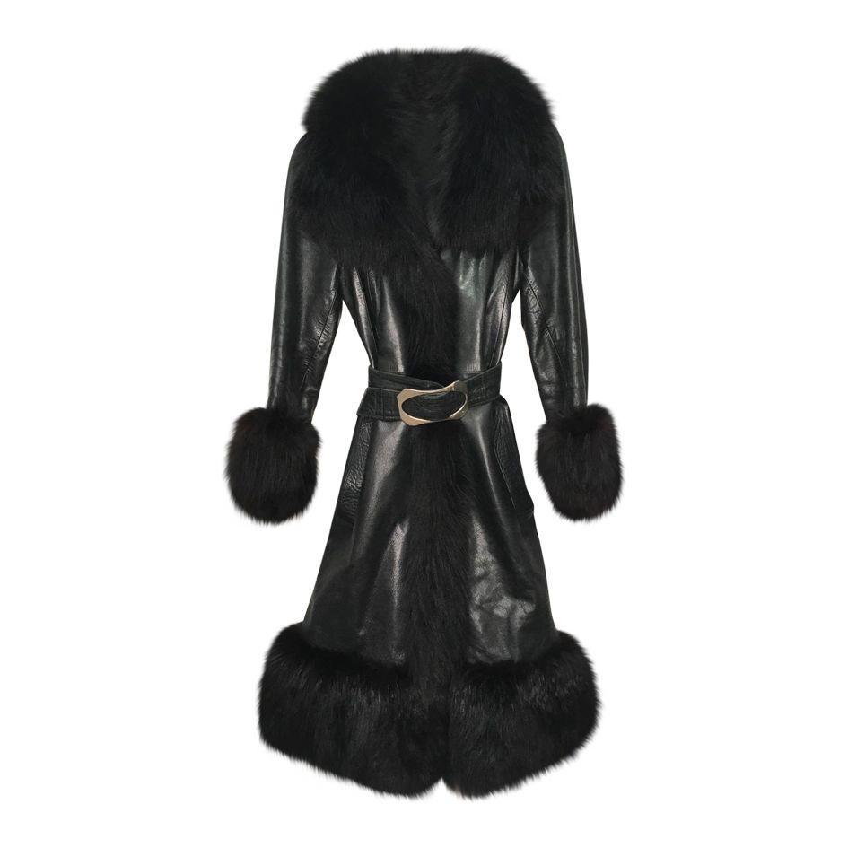 Manteaux - Manteau en cuir et fourrure
