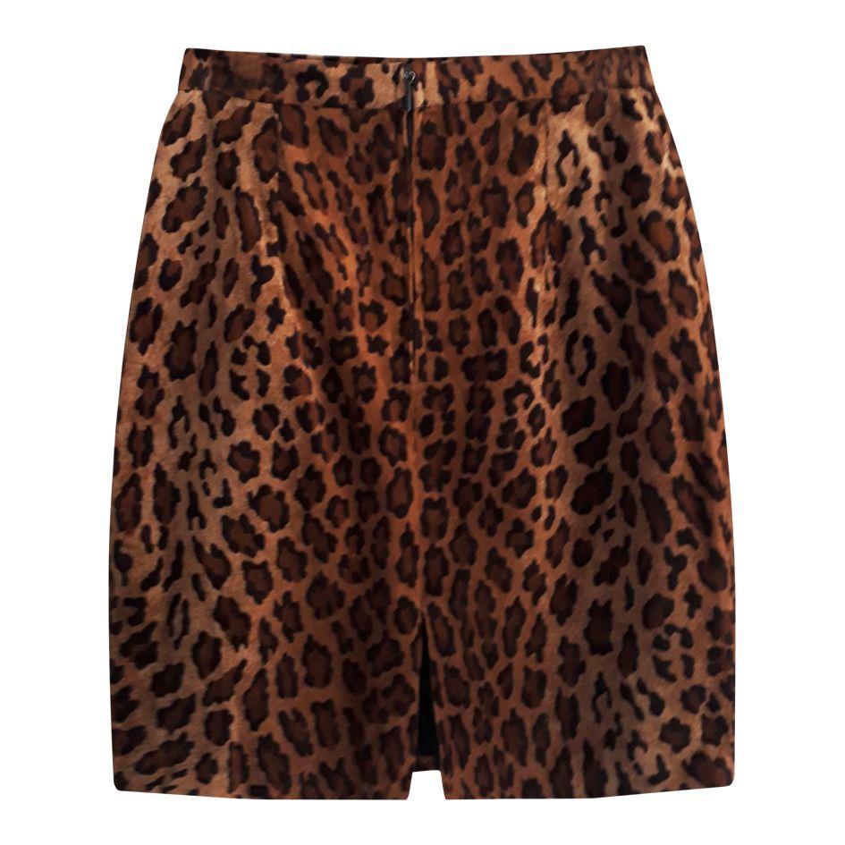 Jupes - Jupe en velours léopard