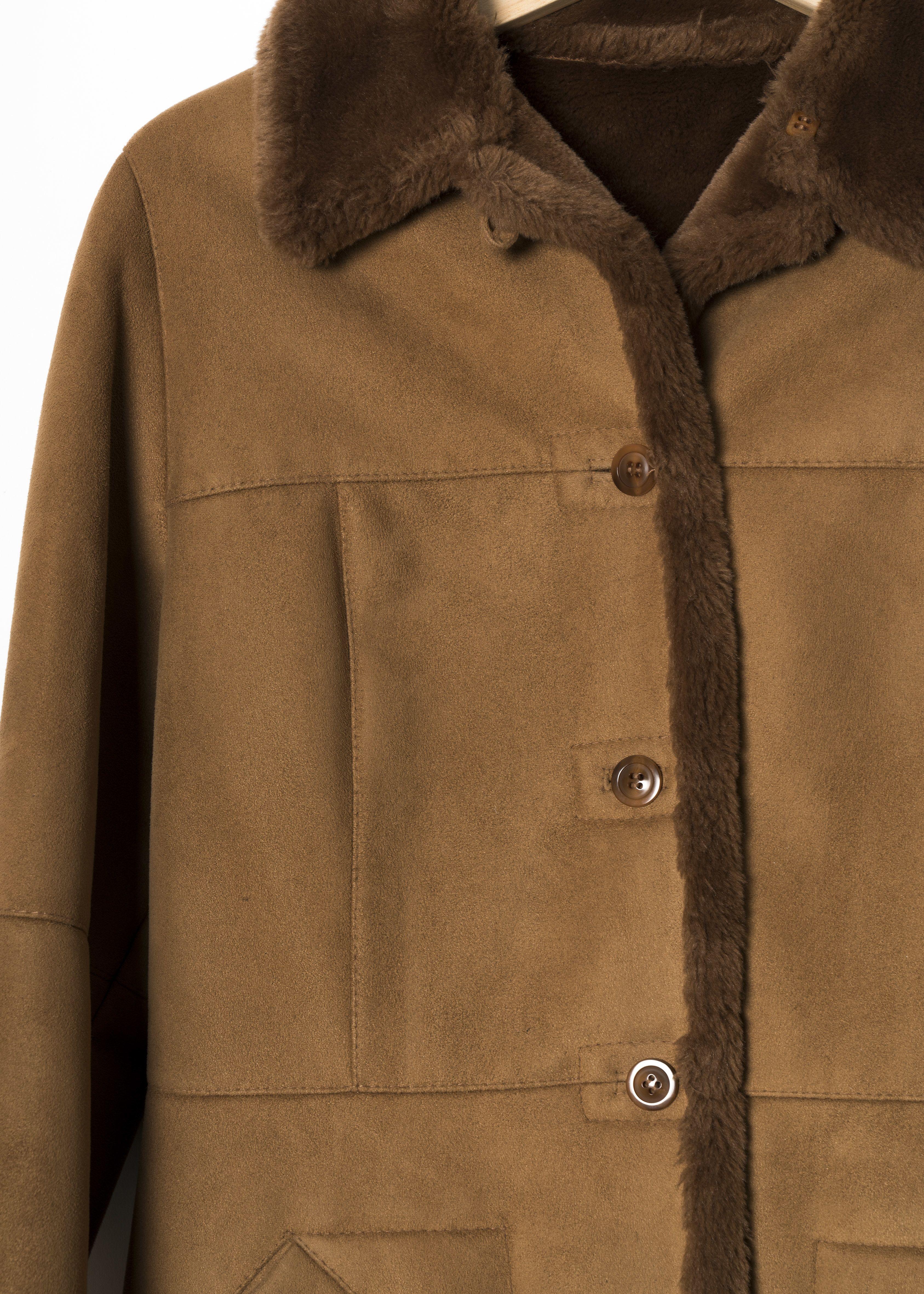 Manteaux - Manteau imitation peau lainée