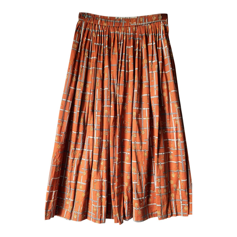 Longue jupe plissée marron/moutarde à