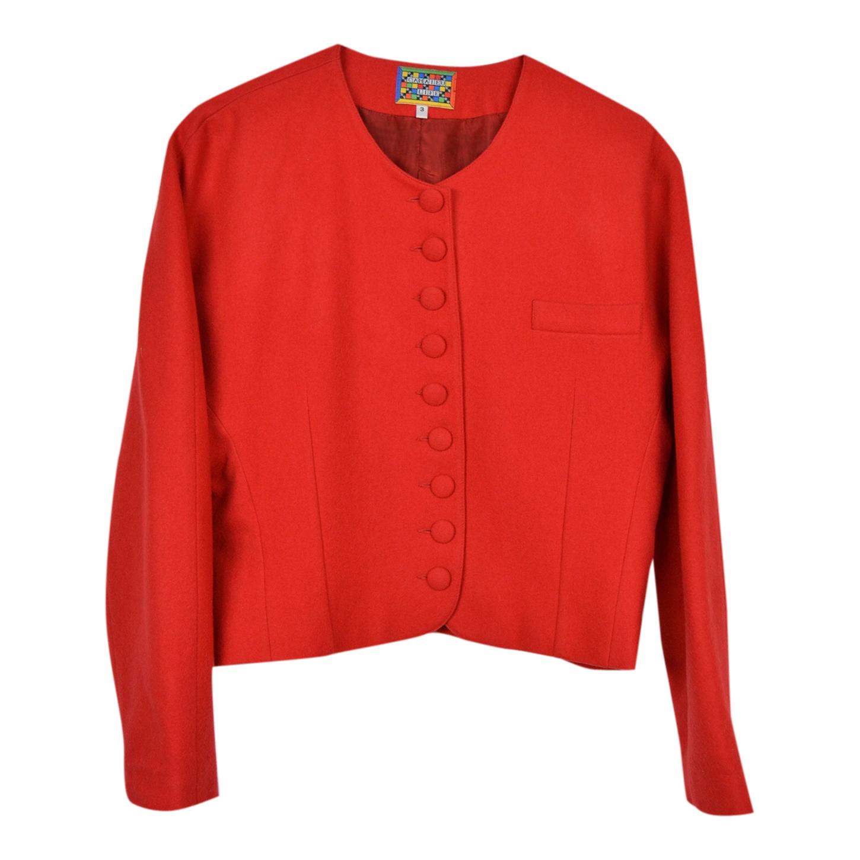 Veste courte rouge en laine