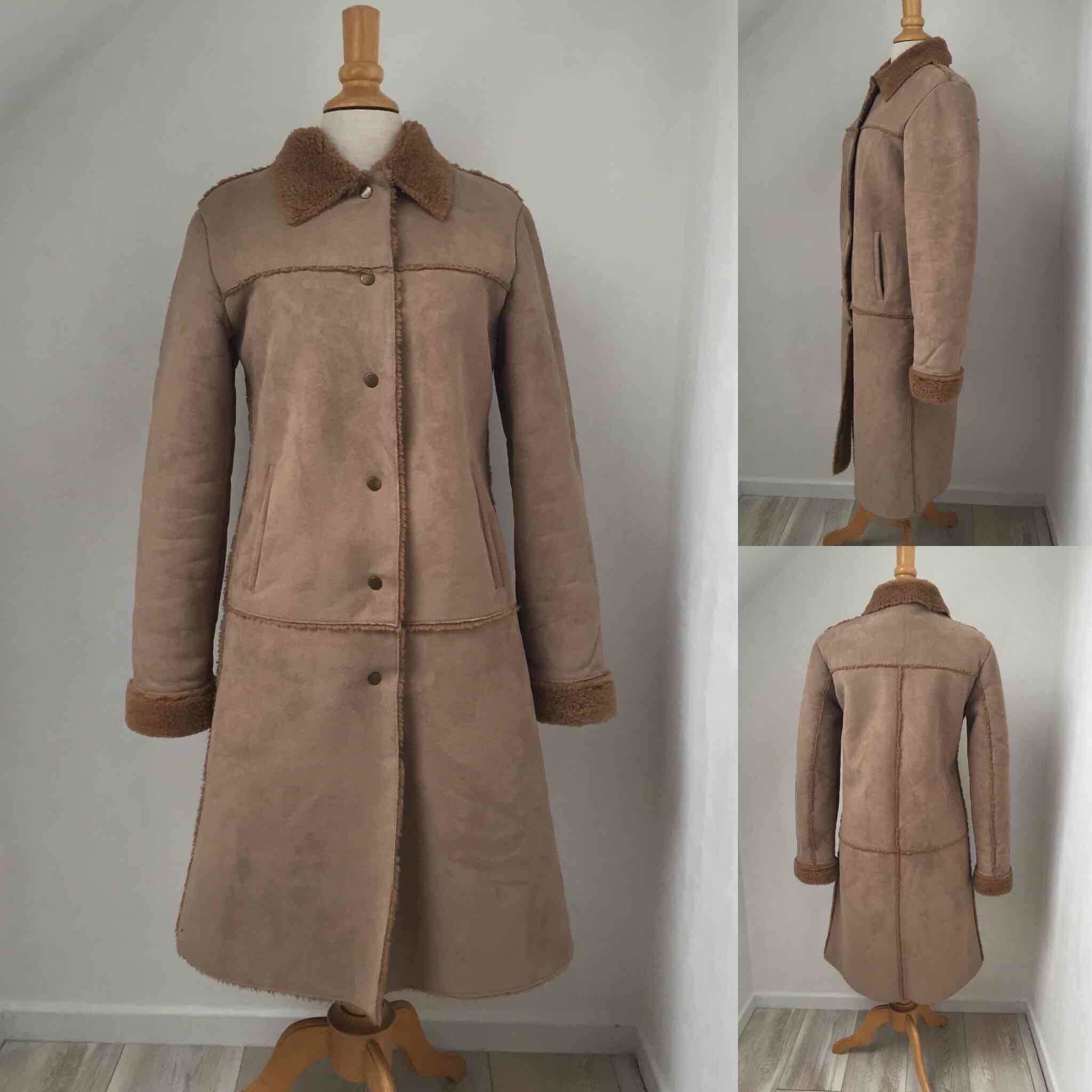 Manteau imitation peau lainée