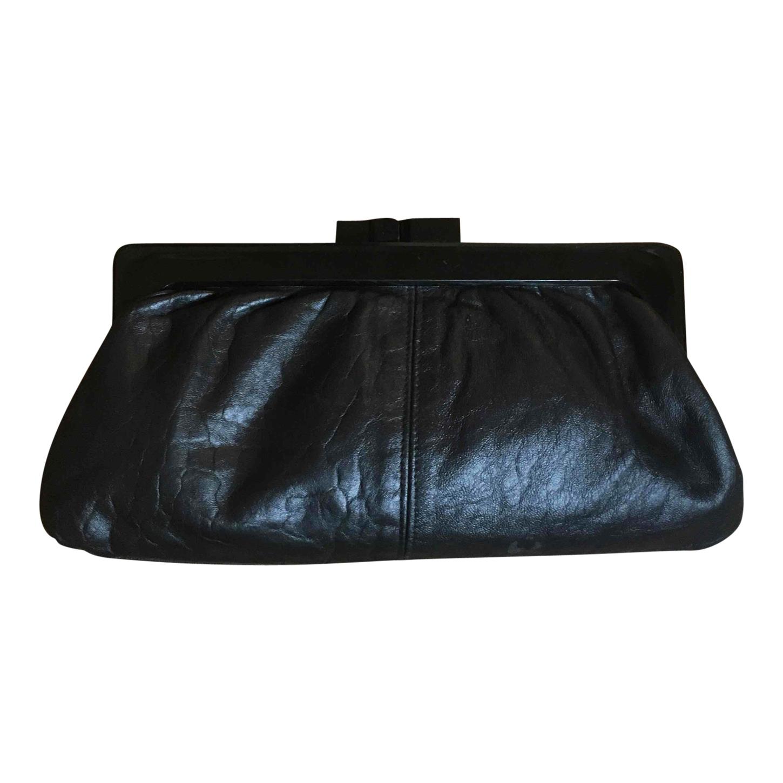 Pochette en cuir noir