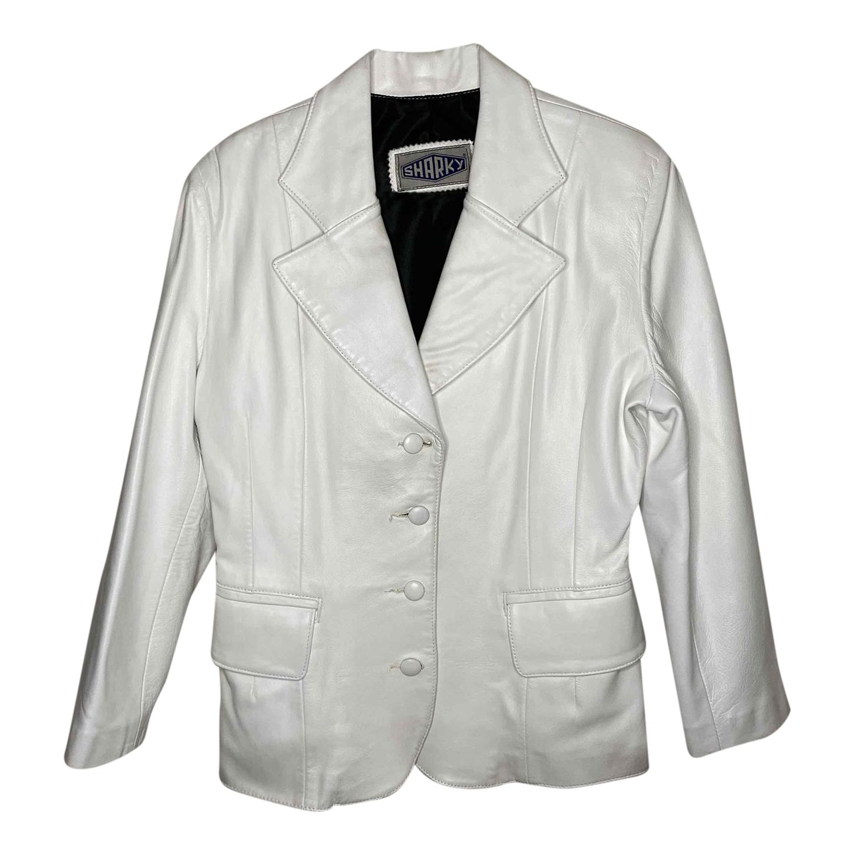 Veste en cuir blanc