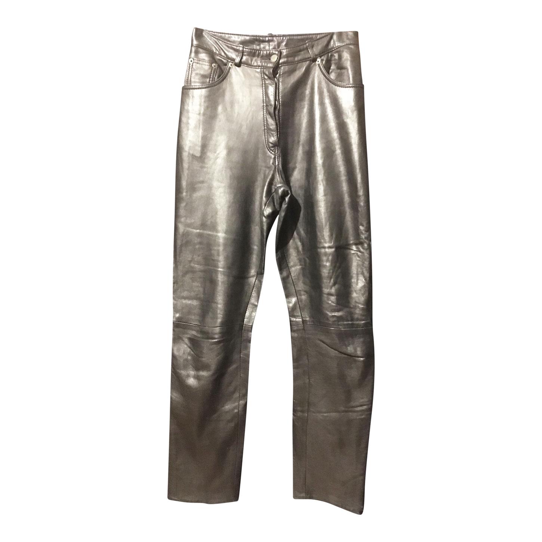 Pantalon taille haute en cuir