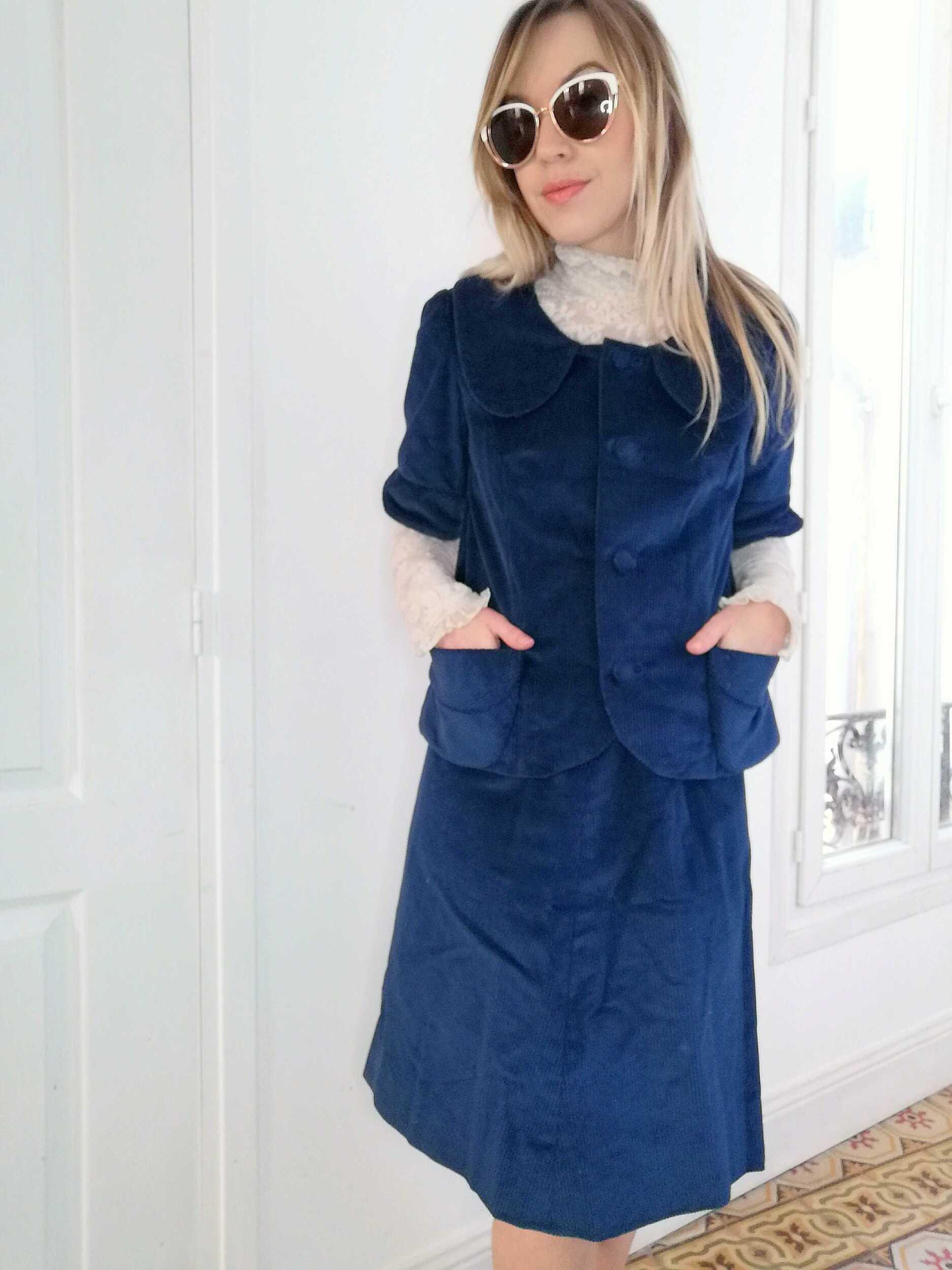 Tailleur jupe en velours