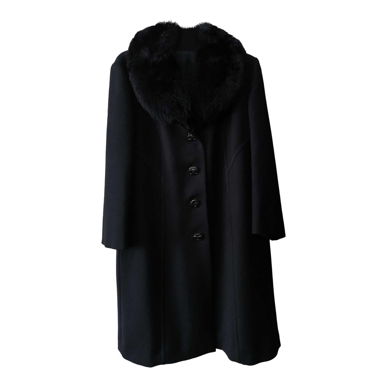 Manteau en laine à col fausse fourrure