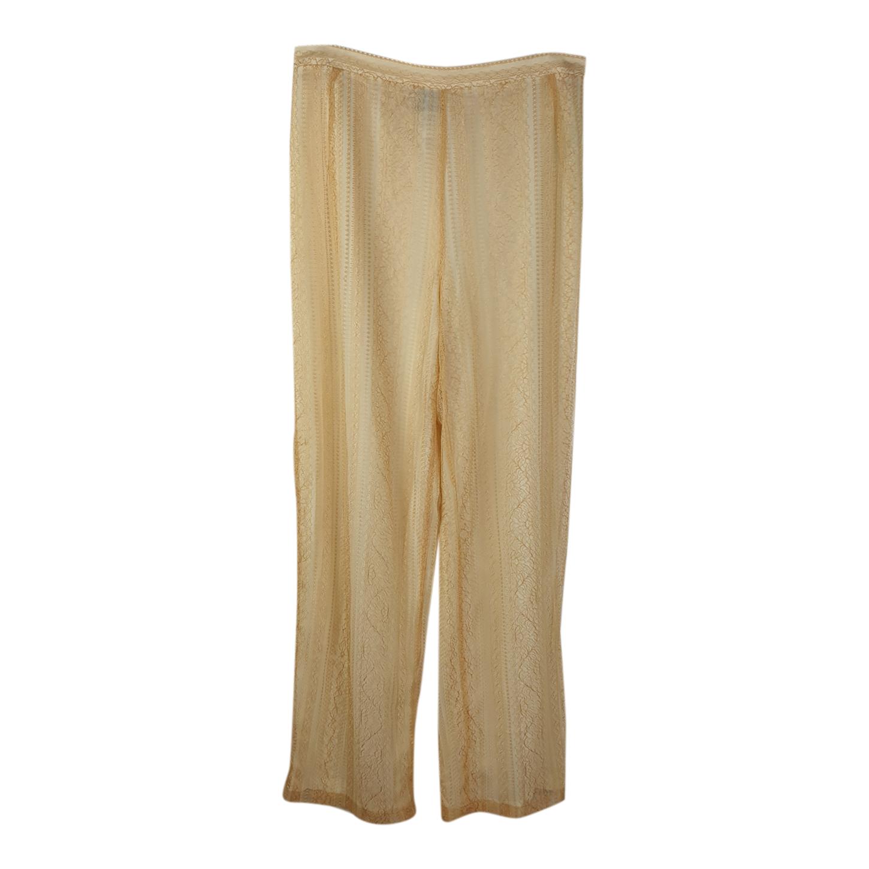 Pantalon doré en dentelle