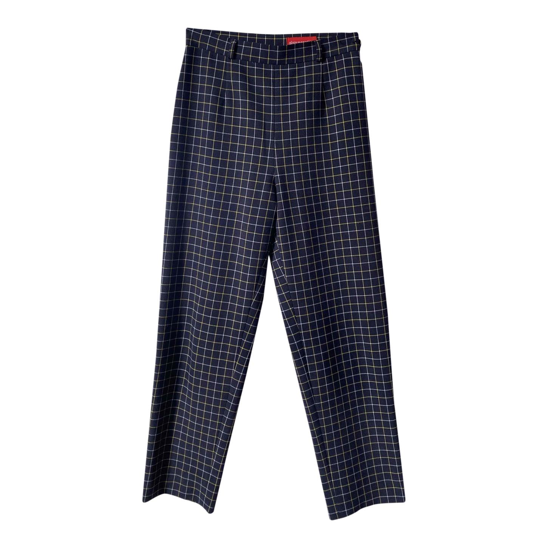 Pantalon taille haute à carreaux