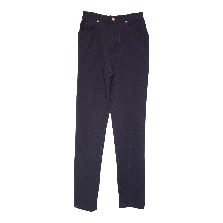 Pantalon taille haute côtelé