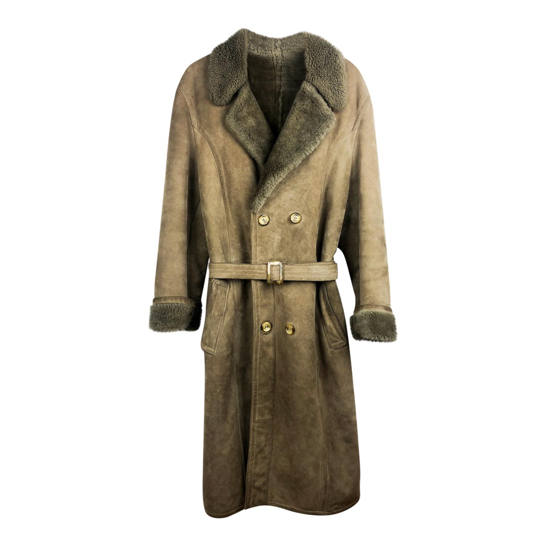 Manteau ceinturé en peau lainée