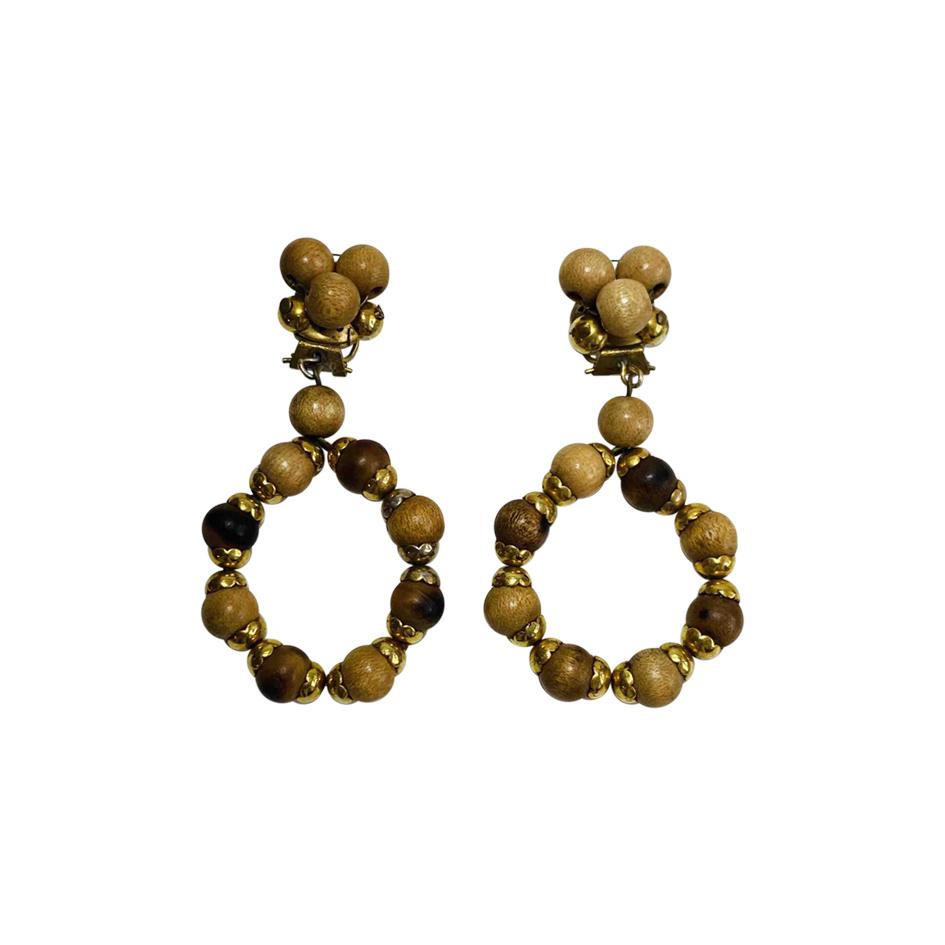 Boucles d'oreilles en perles de bois