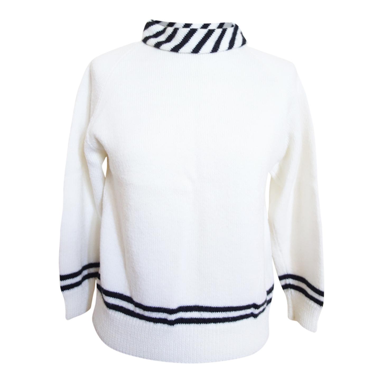 Pull blanc à rayures