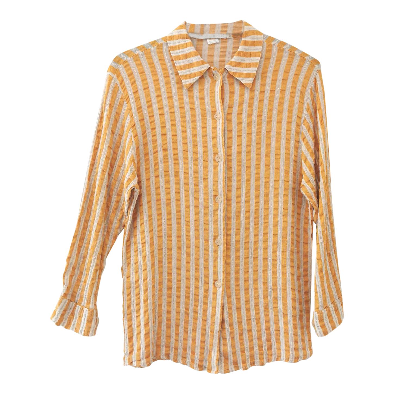 Chemise à rayures en lin et coton