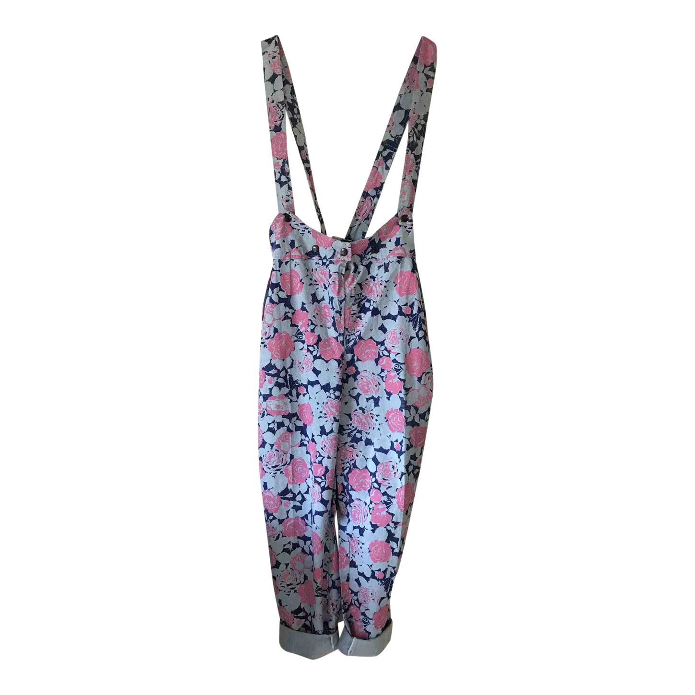 Pantalon à bretelles à fleurs