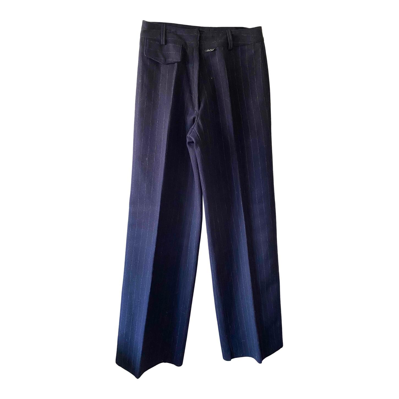 Pantalon taille haute en laine