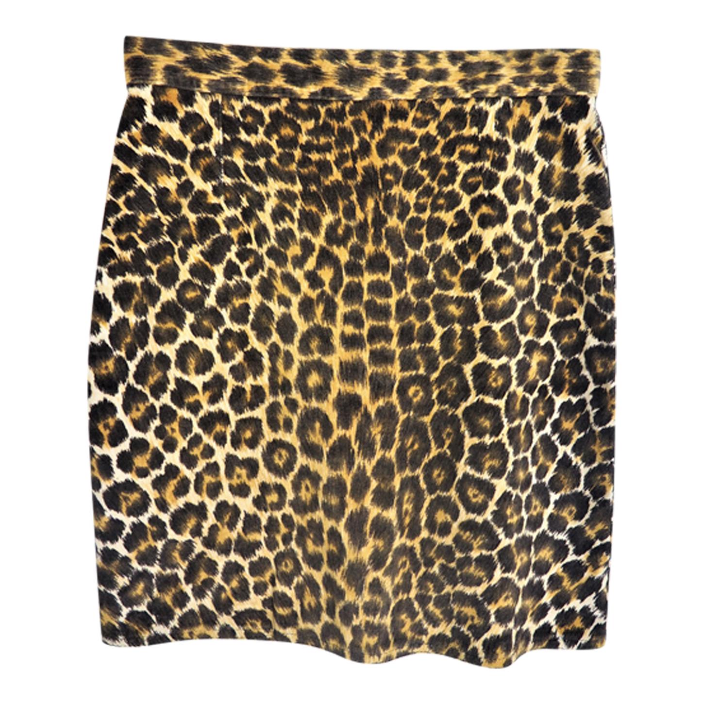 Mini jupe en velours léopard