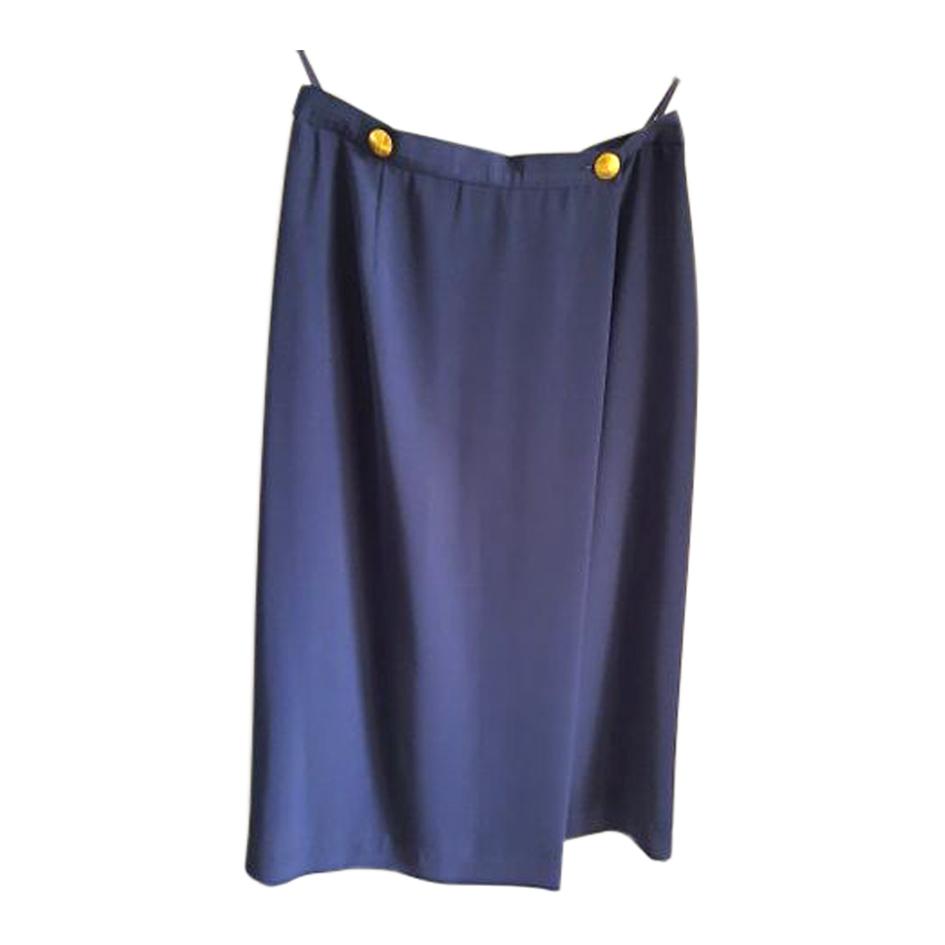 Jupe portefeuille bleu marine