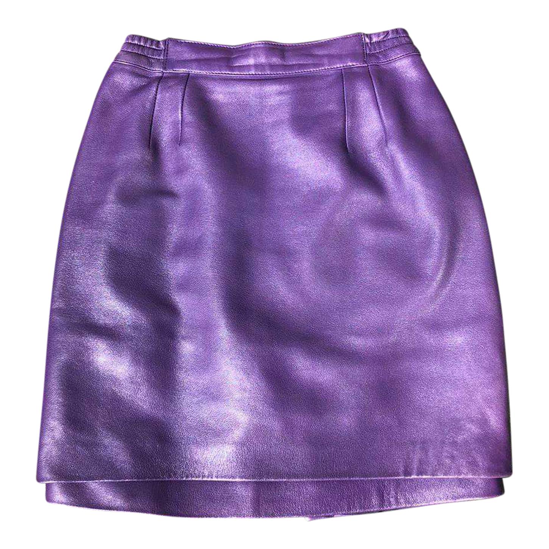 Jupe en cuir violet