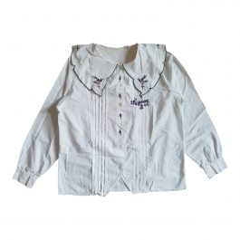 Embroidered blouse with large collar