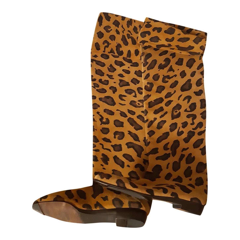 Bottes en daim léopard