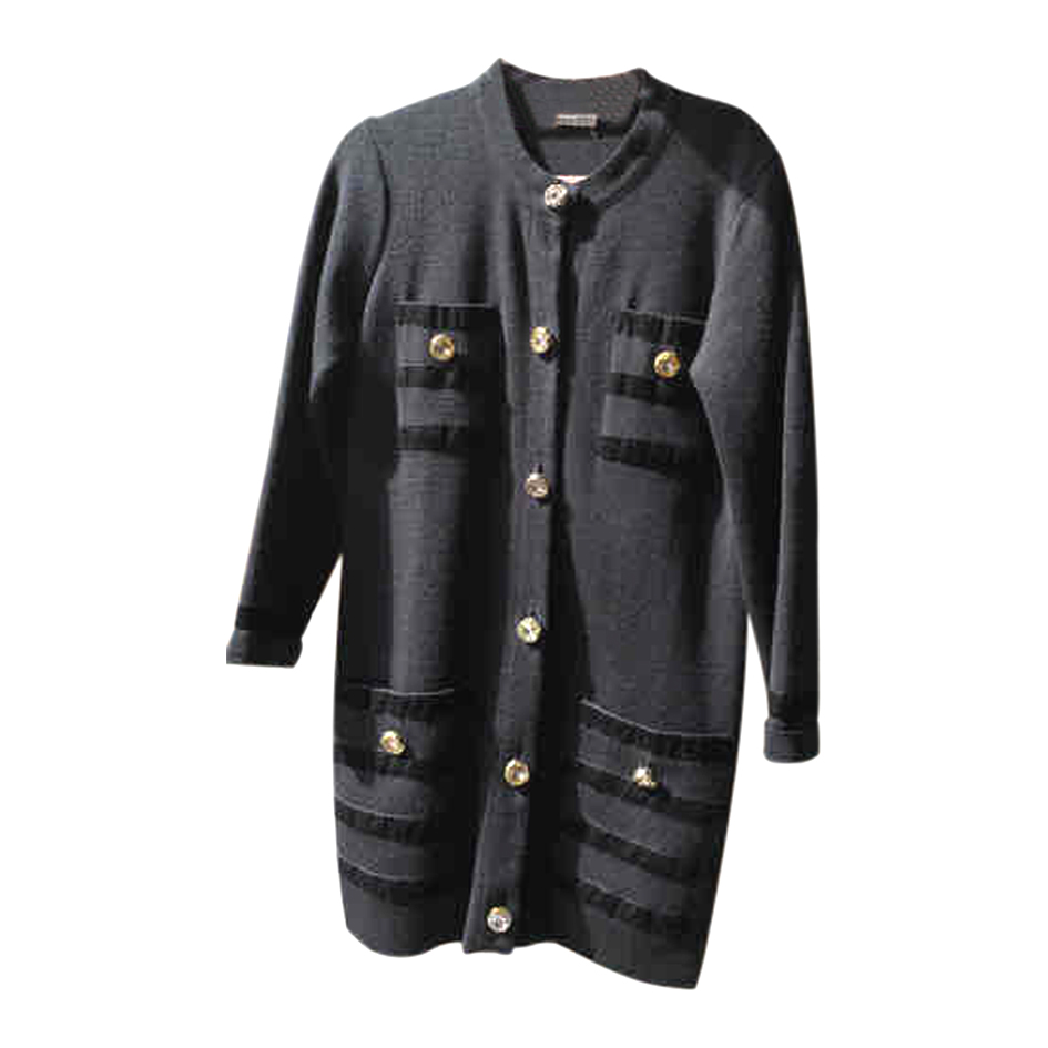 Cardigan long en laine et velours