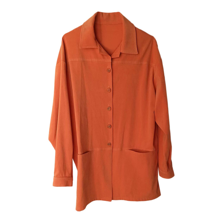 Chemise longue orange