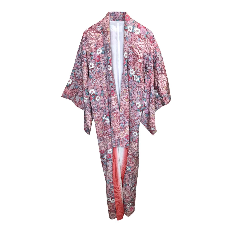 Kimono en soie à fleurs