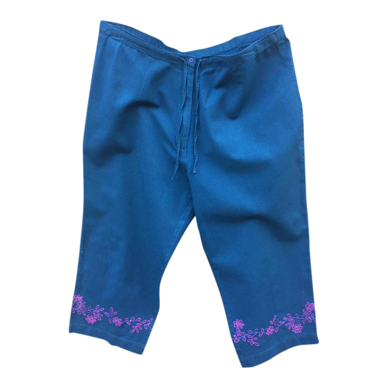 Pantalon court en lin et coton