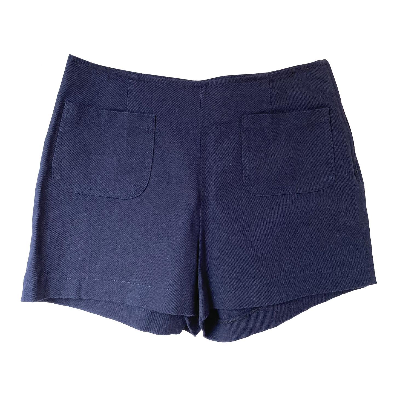 Short en coton taille haute