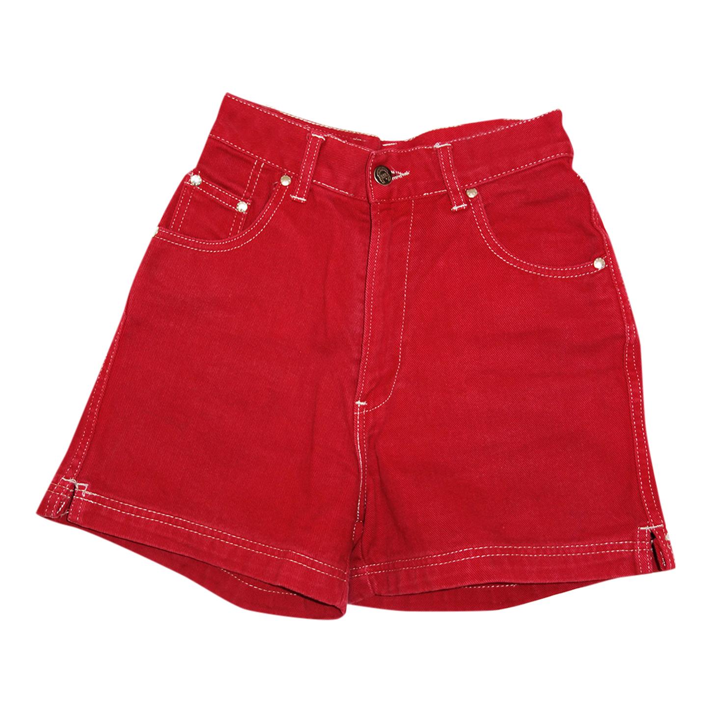 Short en jean rouge
