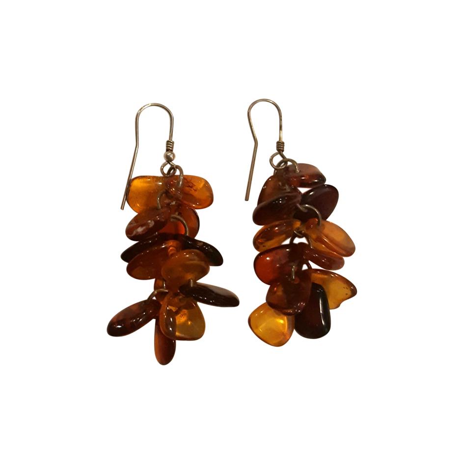 Boucles d'oreilles argent et ambre
